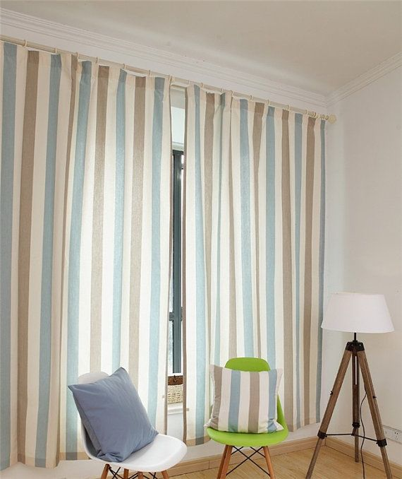 Stripe Curtains, Vertical Striped Curtains, Contemporary Window Curtains,  Vertical Stripe Curtains,custom Curtain Panels,55u201d Wide, 2 Panels