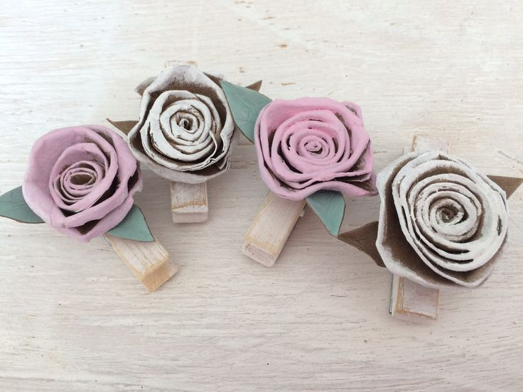 Shabby chic vintage rose note pegs handcrafted from recycled stuff.  #shabbychic #vintage #handcrafted #recycled #rose #gift #paper