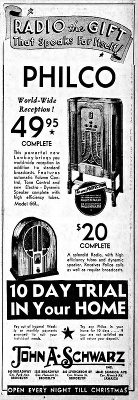 Vintage Newspaper Advertising For Philco Radios In The Brooklyn New York Daily Eagle, December 12, 1934.