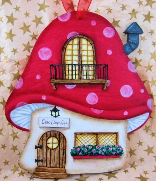 Dew Drop Inn Mushroom House Ornament - Fairy House Ornament - Fairytale Ornament - Red Mushroom House - Hand Painted Wood Ornament by robynwarnedesigns on Etsy #mushroomhouse #fairyhouse #ornament #handpainted
