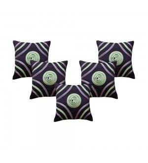 Multi Color Piping Purple Cushion Cover (Set of 5 Pcs)