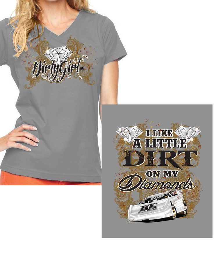 """Dirt on My Diamonds"" Dirt Late Model Racing V-Neck T-Shirt"