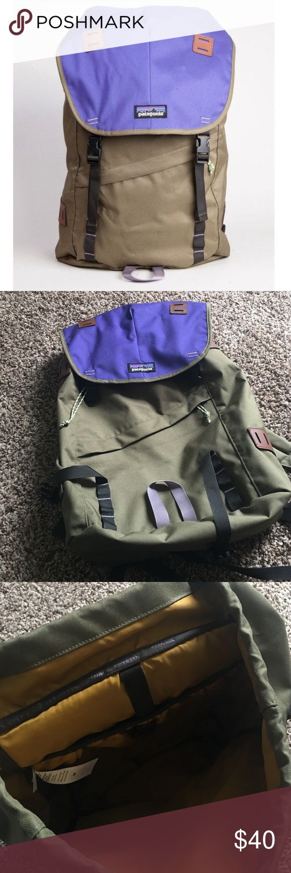 Patagonia backpack Khaki and purple backpack from Patagonia. Lots of pockets for storage, including a laptop sleeve. Straps are very padded for comfort and the bag is very sturdy to hold heavy items. Only used a couple times and in great shape. Patagonia Bags Backpacks