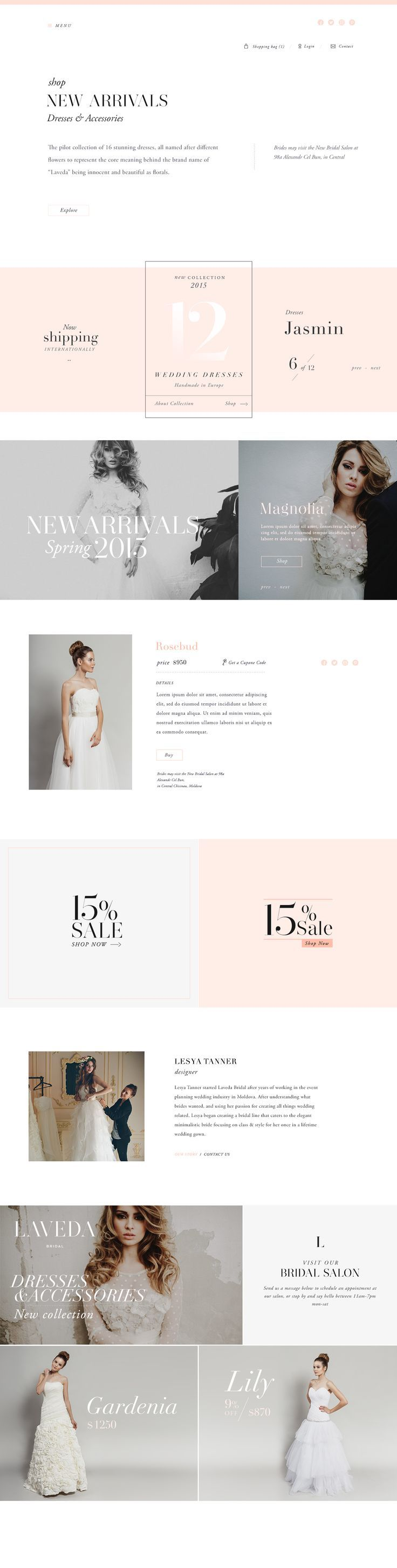 Brand Identity and typography based web style-guide for Laveda Bridal. Website…