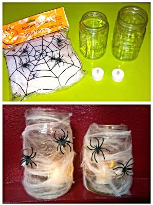 DIY Halloween Decor -- mason jars covered in cobwebs with spiders; put a tea light candle inside