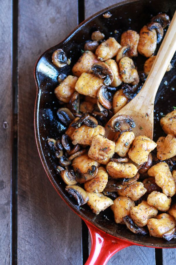 Crispy Brown Butter Sweet Potato Gnocchi with Balsamic Caramelized Mushrooms + Goat Cheese | halfbakedharvest.com