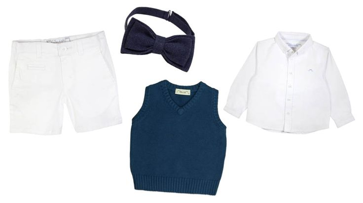 Find this cute outfit for a special occasion by following the link. Outfit includes Travers Preppy Shirt, Traditional Cotton Tank Top in Navy, Chateau Boys Trousers and Linen Bow Tie. #chateaudesable #frenchdesigner #childrenswear #bowtie #shirt #cute #french #designer #navy #white #summer #outfit #chester #cheshire