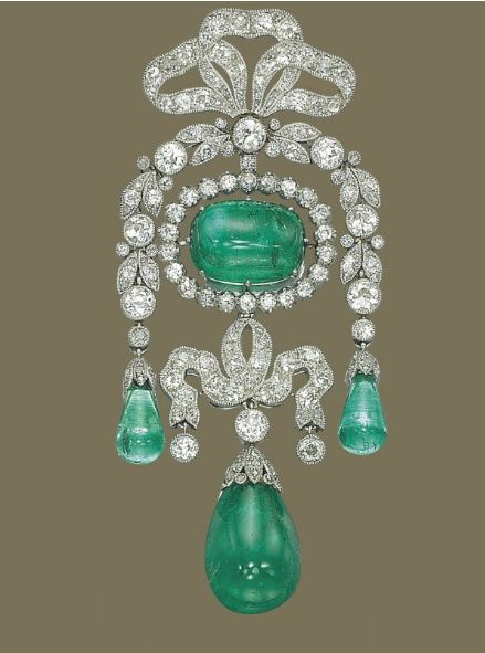 Belle Epoque Emerald and Diamond Brooch by Cartier