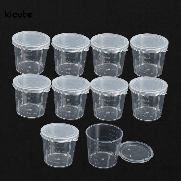 10 Pcs/ensemble 30 ml Gradué En Plastique Bouteille De Laboratoire Lab Test Récipient De Mesure Tasses avec Bouchon En Plastique Liquide Tasses À Mesurer