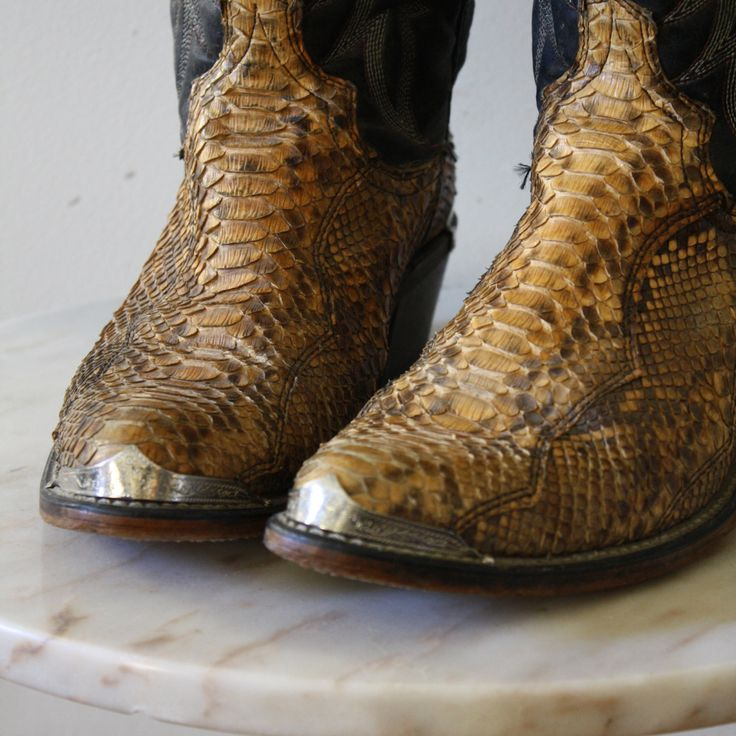 Snakeskin Cowboy Boots 9 Women's Black Yellow Silver by fiiimac