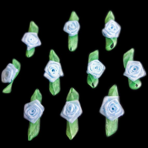 Miniature Sheer Blue Coiled Ribbon Rose Buds by ColourCocoon