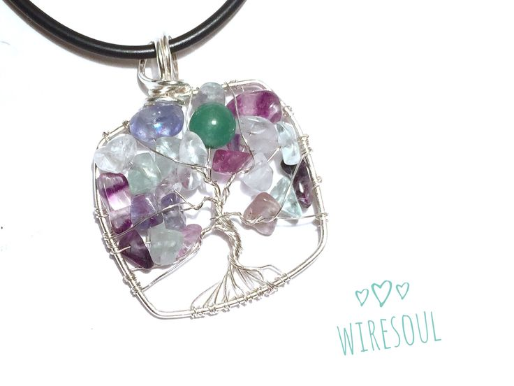 Wire wrapped pendant, wire jewerly, tree of life pendant for kid, fluorit, aventurin