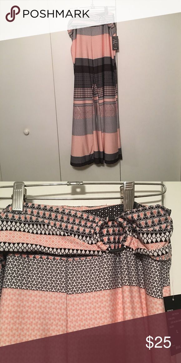 New soft silky pants with cute waist detail Pink and black, brand new pants Pants Wide Leg