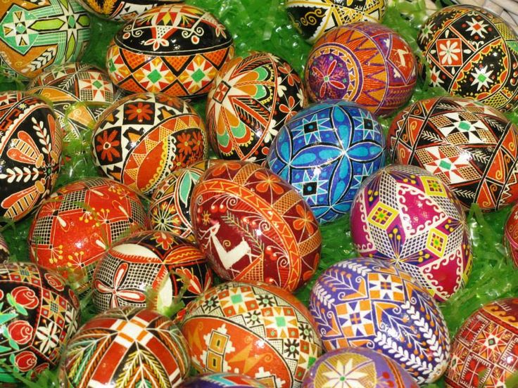 "Frieda Tuma will be demonstrating & selling Pysanky eggs on July 19th from 8 am till 5 pm. Pysanky is a Czech tradition of ""egg writing"" developed centuries ago in Eastern Europe as a method of decorating non-boiled eggs. Tuma painstakingly draws designs on the eggs in pencil before using wax and dyes to color eggs. The eggs are then drained through a tiny hole before a coat of varnish is applied to protect the dyes."