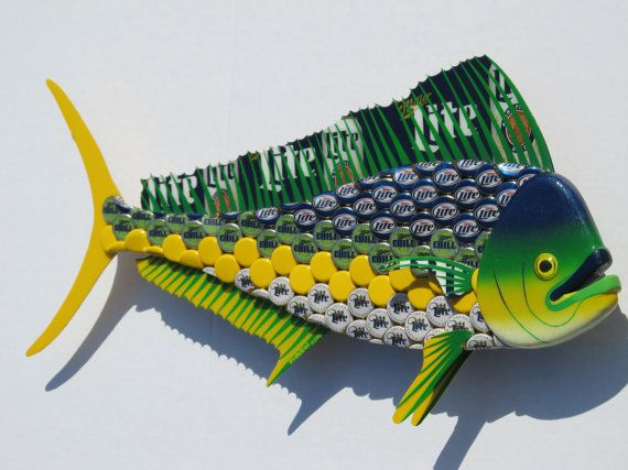 Mahi Mahi Fish Art Miller Lite Bottlecap Metal Bottle Cap Dolphin Bottle Cap Beer Cap Crafts Metal Bottles