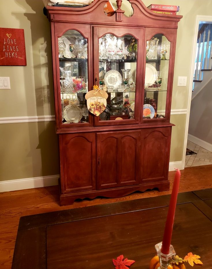 refinished the china cabinet w a red chalk paint | Painted ...