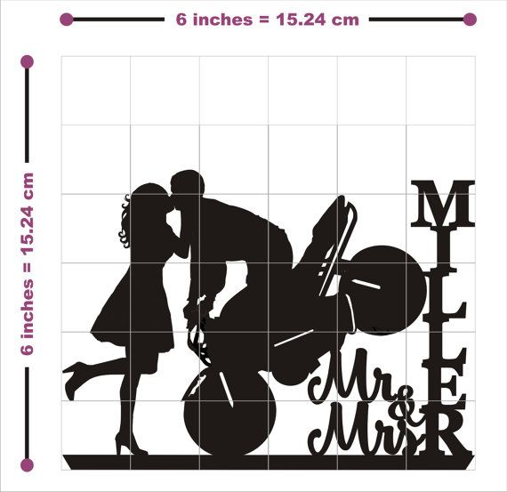 Wedding Cake Topper Silhouette Motorcycle Couple Mr & Mrs