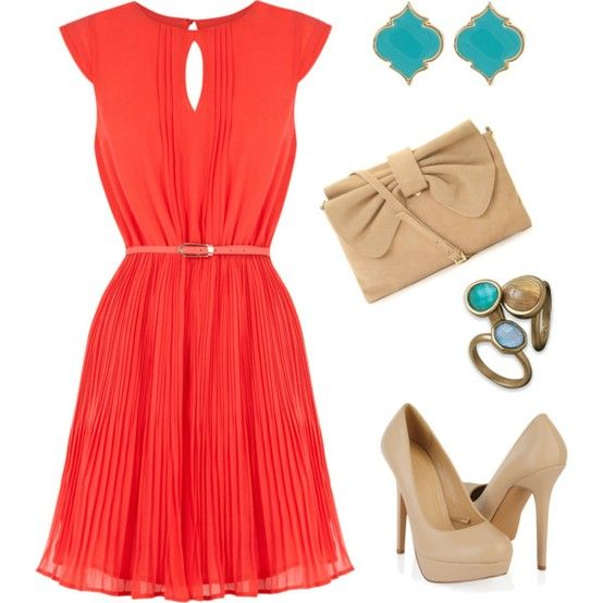 The tan heels and clutch go surprisingly well with the red, and the teal earrings and a surprise pop to the theme.
