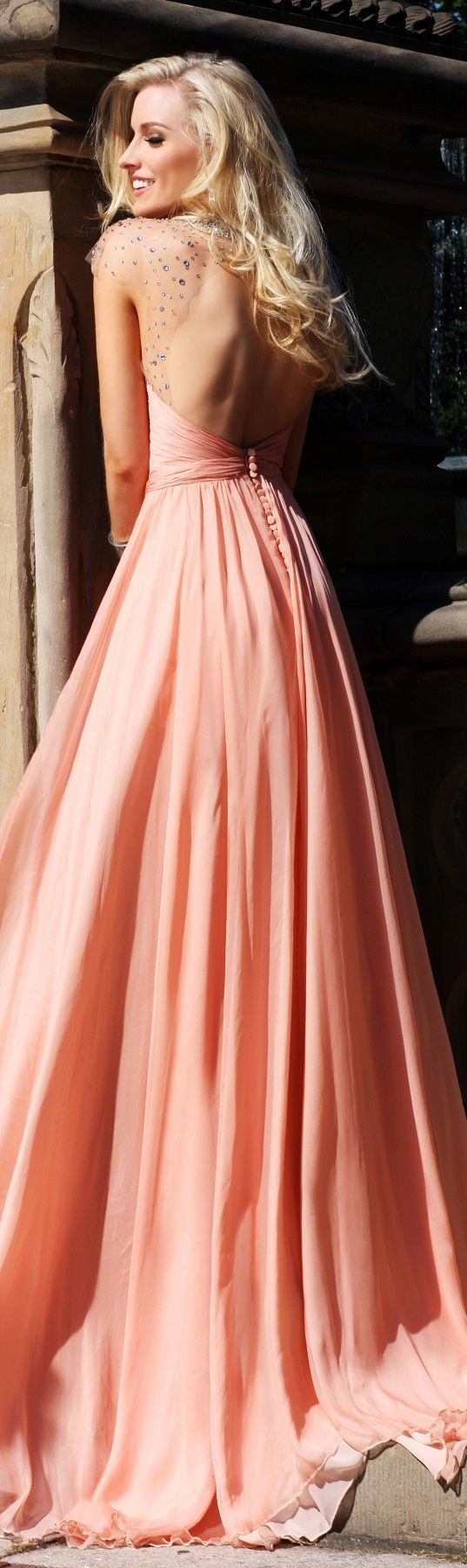 Floor-length Tarik Ediz Haute Couture peach waist dress with transparent sequin sleeves <3