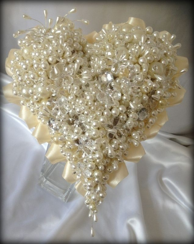 Brides unique heart shaped pearl and crystal keepsake wedding bouquet