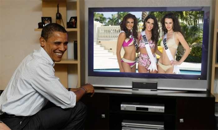Patricia Murillo Miss Universe El Salvador 2014, Ismini Dafopoulou Miss Universe Greece 2014 and Marcela Chmileowska Miss Universe Poland 2014 watch live Obama