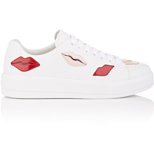 Prada Women's Lip-Appliquéd Leather Sneakers ($750) ❤ liked on Polyvore featuring shoes, sneakers, shiny shoes, rubber sole shoes, round toe shoes, leather shoes and round toe sneakers