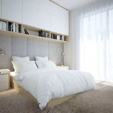 """Przyszła pora na sypialnię w 54m2. Można ją określić jednym zdaniem: ,,ostoja spokoju i wyciszenia"""" ♥  #sypialnia#bedroom#projektowaniewnetrz#interiordesign#wnętrze#Interii#remont#budowa#home#homedecor#architektura#rendering"""