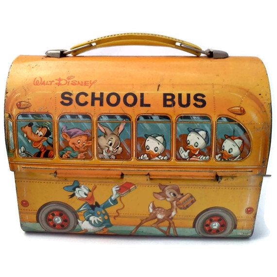 Vintage Tin 1950s Disney Lunch Box & Thermos Flask School Bus