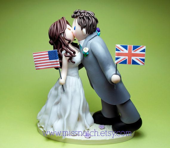 DEPOSIT - Two become One Kissing Couple Wedding Cake Topper on Etsy, $50.00