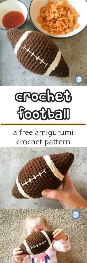 This beginner friendly crochet amigurumi football is a perfect free pattern to help the kids celebrate football season (think Super Bowl Sunday!) or as a perfect photo prop gift for your next baby shower :)