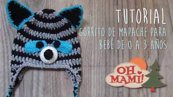 Tutorial gorrito de mapache para bebé.niño a crochet (Baby hat)