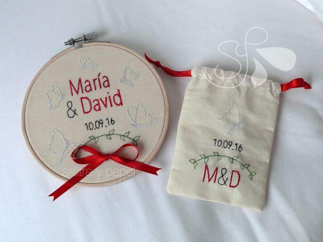 Porta alianzas bordado y bolsa para arras a juego. #embroidery #wedding #rings