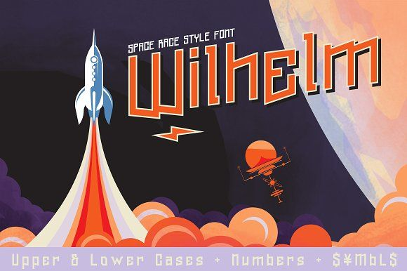 Wilhelm Font & Space Vectors by Badspark on @creativemarket