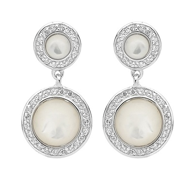 Silver and Some - Georgini Earrings, Mother of Pearl and Clear CZ Drops