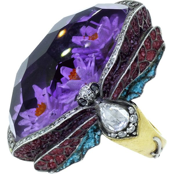 Sevan Bicakci Waterlily Amethyst Ring ($58,800) ❤ liked on Polyvore featuring jewelry, rings and dragonflies