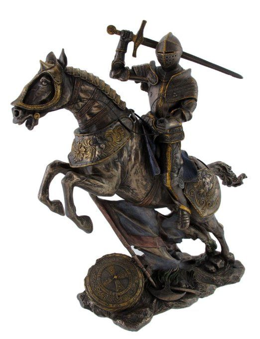 Medieval Knight on Battle Horse Statue Figure 10.5 ...