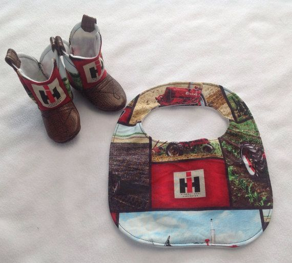 Baby Cowboy Boots and Matching Bib International Harvester by 2Fab, $40.00