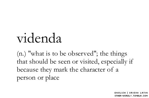 """VIDENDA (n) """"what is to be observed""""; the things that should be seen or visited, especially if because they mark the character of a person or place ~~~ pronunciation 