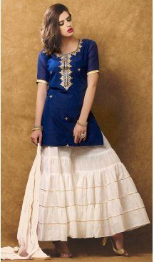 Blue Color Chanderi Silk Embroidery Straight Cut Sharara Suit   FH580185670 Follow us @Heenastyle #punjabiwedding #punjabisuit #shararasuits #green #pink #uniquesdesign #shararasuit #desi#pakistani #love #bollywood #lehenga #anarkali #traditional #indianclothes #sharara #handwork #handembroidery #gota #gotawork #punjabi #punjabidress #ethnic #ethnicdress #boutique #custommade #bespoke #instafashion #instachic #heenastyle