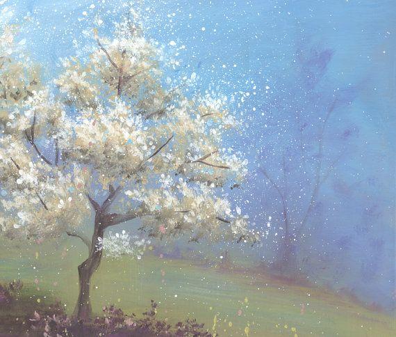 Fleur blanche arbre peinture acrylique peinture par SnowtreeGallery