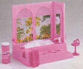 Barbie Bubble Bath.  One of my favourite toys!  Had a little pump to spray water.  My mom must have hated this thing.