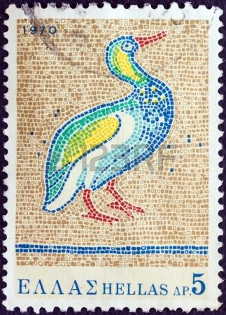 "Mosaic shows Bird, St. George's Church, Thessaloniki (5th century A.D.), stamp printed in Greece from the ""Greek Mosaics"" issue circa 1970."