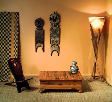 Decorating Fabulous Family Room With African Furniture Ideas Also Unique Wooden Chair Coffee Table Design Also Natural Floor Lamp Design