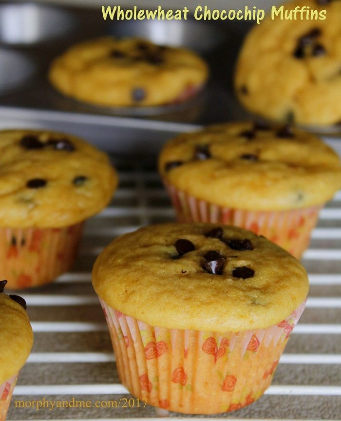 These eggless wholewheat chocolate chip muffins are such a treat and super quick to bake too. An easy recipe for first time bakers.