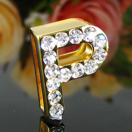 Pandantiv litera P placat cu aur galben 18k cu diamante