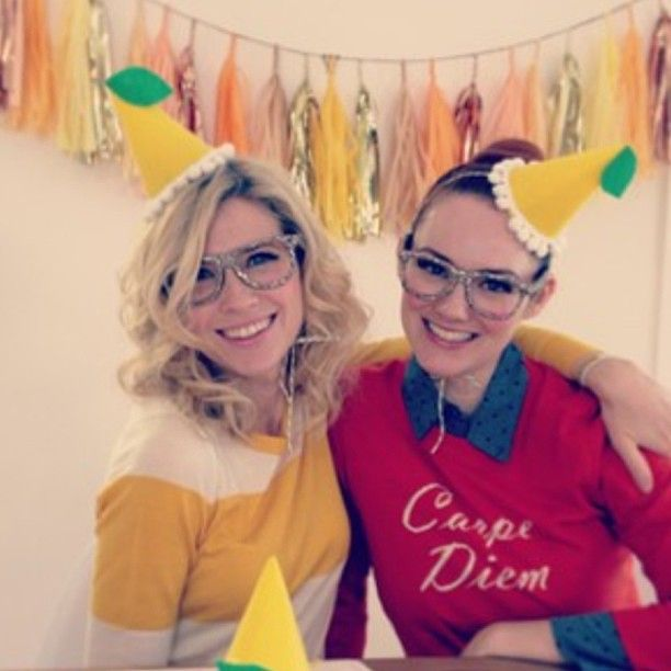 How cute are the lovely ladies from @The Girls with Glasses?! Look at those  #partyhats.  You ladies are totally showing up our #sunnysideup #tasselgarl...