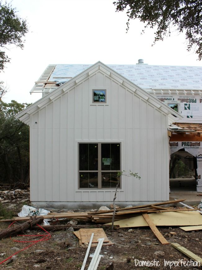 """siding is Hardie board; white board and batten spaced 12"""" on center with 1 1/2"""" batts"""