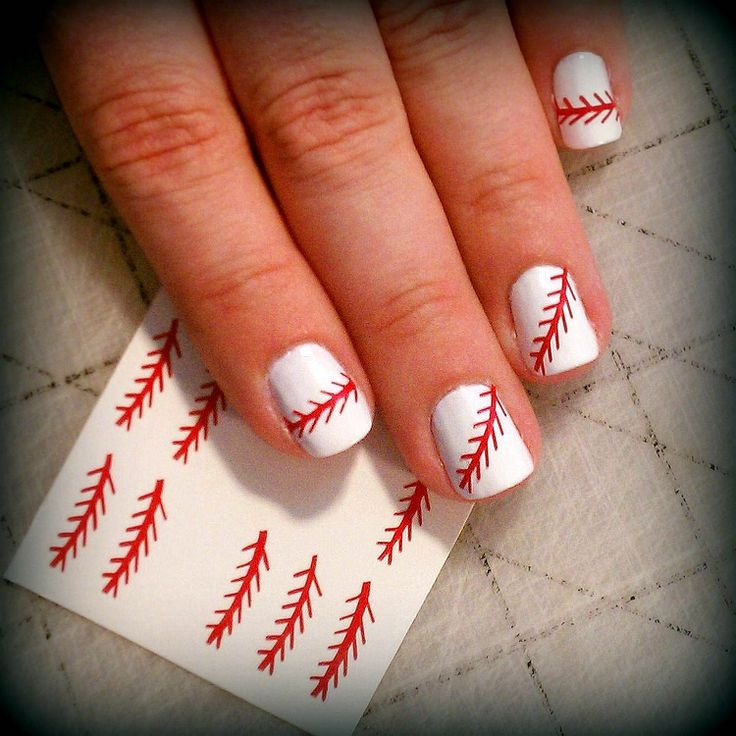 Baseball Thread Nail Art - LOVE IT! Only if the white nail polish was  yellow for a softball(: - 25+ Best Softball Nails Ideas On Pinterest Baseball Nail Designs