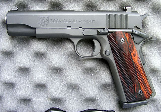 Rock Island Arms 1911 .45 ACP I prefer stopping power to number of rounds.
