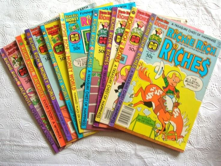 9 Vintage Richie Rich Comic Books  Jack Pot  Money World Riches  1980's